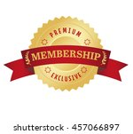 membership seal with red curved ... | Shutterstock .eps vector #457066897