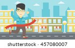 an asian young businessman... | Shutterstock .eps vector #457080007