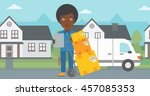 an african american delivery... | Shutterstock .eps vector #457085353