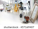 cosmetic brushes in cup on... | Shutterstock . vector #457169407