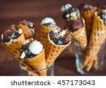 tasty chocolate ice cream in... | Shutterstock . vector #457173043