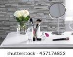 cosmetic set on white dressing...   Shutterstock . vector #457176823