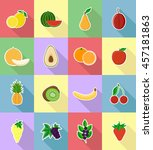 fruits flat set icons with the... | Shutterstock . vector #457181863