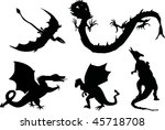 illustration with black dragons ... | Shutterstock . vector #45718708