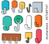 vector set of wall hooks | Shutterstock .eps vector #457189747