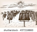 solar power plant sketch style... | Shutterstock .eps vector #457218883