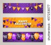 halloween horizontal banners... | Shutterstock .eps vector #457253077