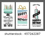 set of birthday greeting cards... | Shutterstock .eps vector #457262287