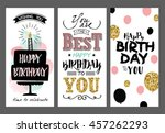 set of birthday greeting cards... | Shutterstock .eps vector #457262293