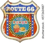 retro american route sixty six... | Shutterstock .eps vector #457263487