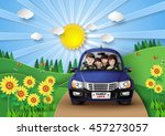 funny family driving in car on... | Shutterstock .eps vector #457273057