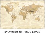 vintage physical world map   | Shutterstock .eps vector #457312933