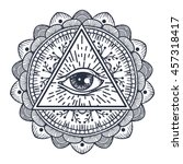 vintage all seeing eye in... | Shutterstock .eps vector #457318417