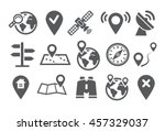 map and location icons | Shutterstock .eps vector #457329037