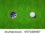 top views of golf ball and golf ... | Shutterstock . vector #457338487