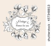 vintage card with bindweed and... | Shutterstock . vector #457348813