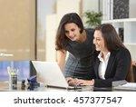 two happy businesswomen...   Shutterstock . vector #457377547