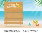 summer wooden sign on tropical... | Shutterstock .eps vector #457379407