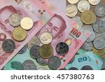 Small photo of close-up Thai Baht Coins background. Thailand money