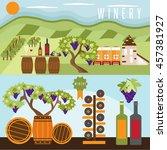 flat design set of landscape... | Shutterstock .eps vector #457381927