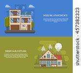 scandinavian design house... | Shutterstock .eps vector #457382323
