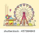 funfair with ferris wheel.... | Shutterstock .eps vector #457384843
