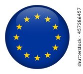 europe flag glossy button | Shutterstock .eps vector #457386457