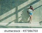 fashion portrait of young model ... | Shutterstock . vector #457386703