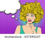 young sexy blonde woman smiling ... | Shutterstock .eps vector #457390237