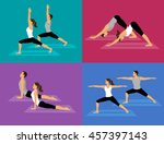 couple doing yoga workout set.... | Shutterstock .eps vector #457397143
