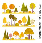 set of flat autumn forest and... | Shutterstock .eps vector #457407463