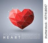 abstract polygonal heart shape  ... | Shutterstock .eps vector #457418047