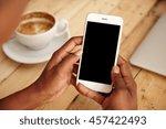 cropped shot of black female's... | Shutterstock . vector #457422493