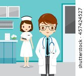 doctor and nurse  people... | Shutterstock .eps vector #457424527