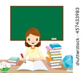 woman teachers checking... | Shutterstock .eps vector #457433983