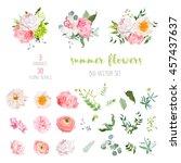 ranunculus  rose  peony  dahlia ... | Shutterstock .eps vector #457437637