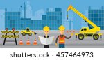 construction site  worker with... | Shutterstock .eps vector #457464973