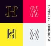 """letter """"h' monograms set....   Shutterstock .eps vector #457466143"""