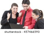 young people looking at laptop...   Shutterstock . vector #457466593
