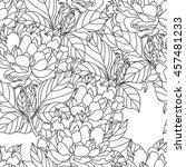 seamless peony bouquet.vector.... | Shutterstock .eps vector #457481233