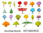 set of various cute trees.... | Shutterstock .eps vector #457483903