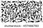 scuba diving silhouette vector... | Shutterstock .eps vector #457486783