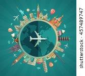 vector illustration of flat... | Shutterstock .eps vector #457489747
