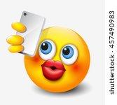 cute emoticon taking selfie... | Shutterstock .eps vector #457490983