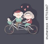elderly couple riding a bicycle ... | Shutterstock .eps vector #457515667