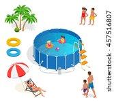 two little girls deftly swim in ... | Shutterstock .eps vector #457516807