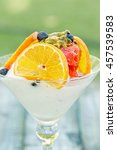 strawberry sorbet and tropical... | Shutterstock . vector #457539583