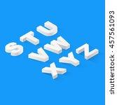 flat isometric 3d font alphabet ... | Shutterstock .eps vector #457561093