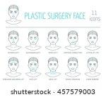 11 line plastic surgery face... | Shutterstock .eps vector #457579003