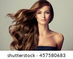 brunette  girl with long  and   ... | Shutterstock . vector #457580683